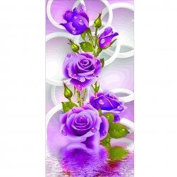 DIY obraz z kamínků - fialové růže