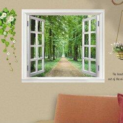 Samolepka na zeď - okno s výhledem do přírody