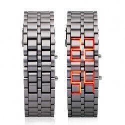 Stylové LED digitální náramkové hodinky - stříbrná barva