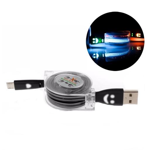 Navíjecí USB kabel s LED světlem - 1 m