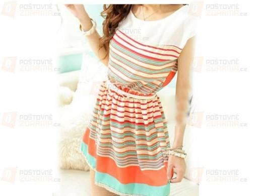 Letní šaty s pruhy z šifonu
