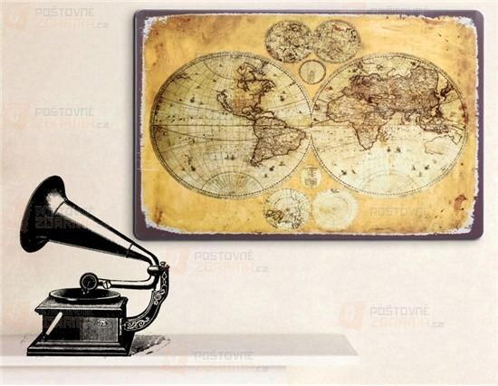 Samolepka na zeď - retro mapa světa