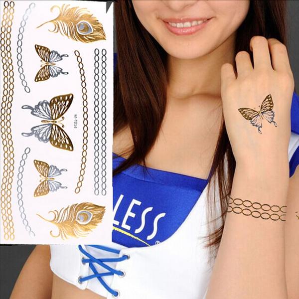Dočasné tetování - peříčka a motýlci