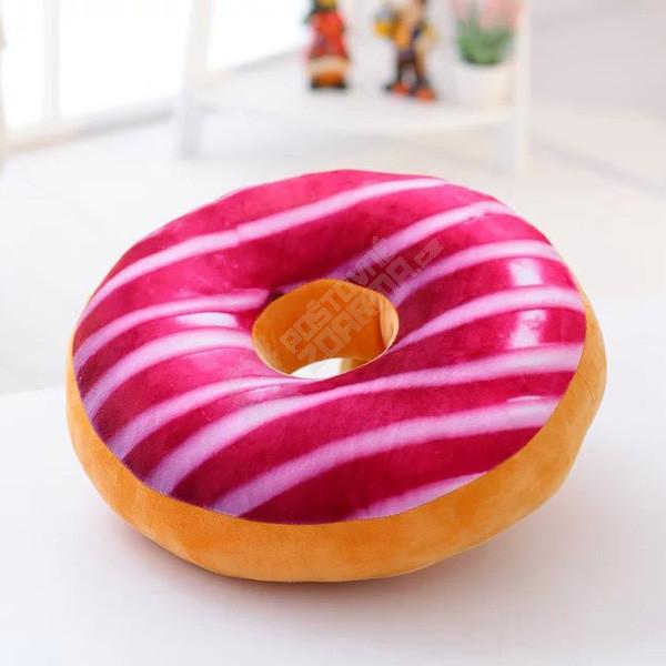 Plyšový polštář v podobě donutu