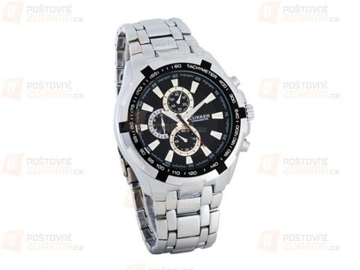 Pánské hodinky ve stříbrné barvě s černým podkladem