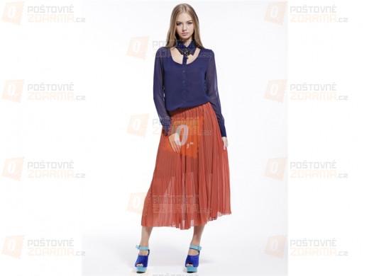 Dámská elastická plně skládaná sukně - oranžová