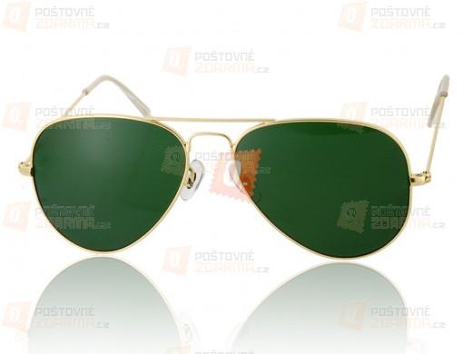 Sluneční brýle G15 - zlaté obroučky, zelená skla