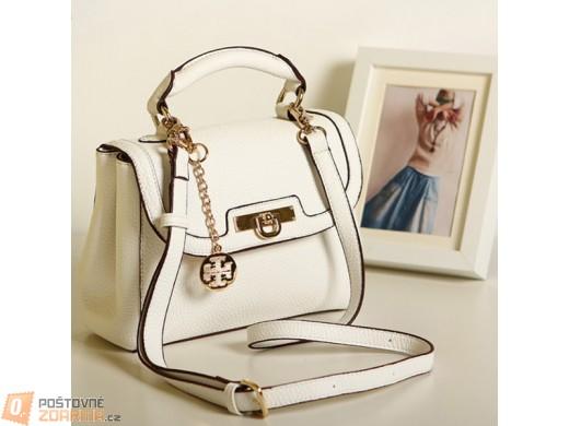 Dámská kabelka s uchem a popruhem - bílé provedení