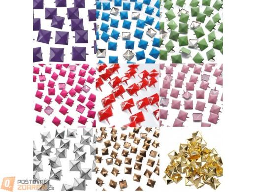 Cvočky pyramida 100 kusů, na výběr z 9 barev