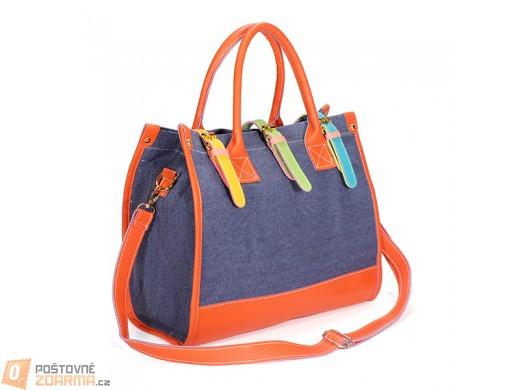 Dámská kabelka s barevnými pásky