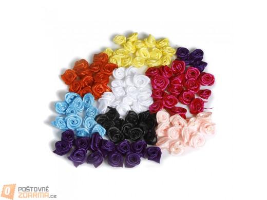 Dekorativní saténové růžičky - balení 50 ks