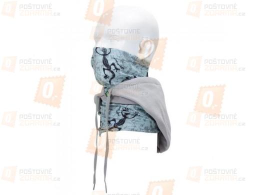 Multifunkční šátek s fleecovou kapucí - modro-šedý