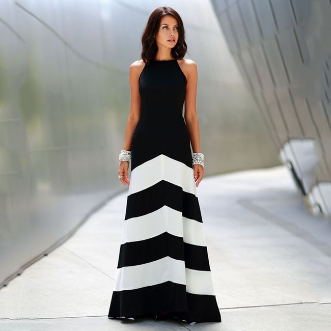 Společenské šaty s pruhovanou sukní 1