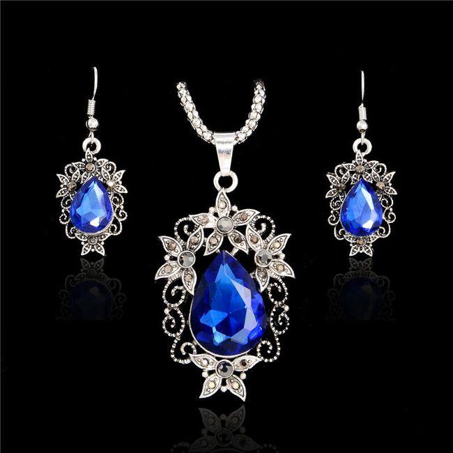 Náušnice s náhrdelníkem s kamínky - 4 barvy 1