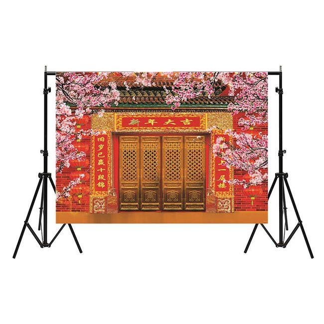 Ateliérové fotopozadí 210 x 150 cm - Dveře do asijského světa se sakurami 1
