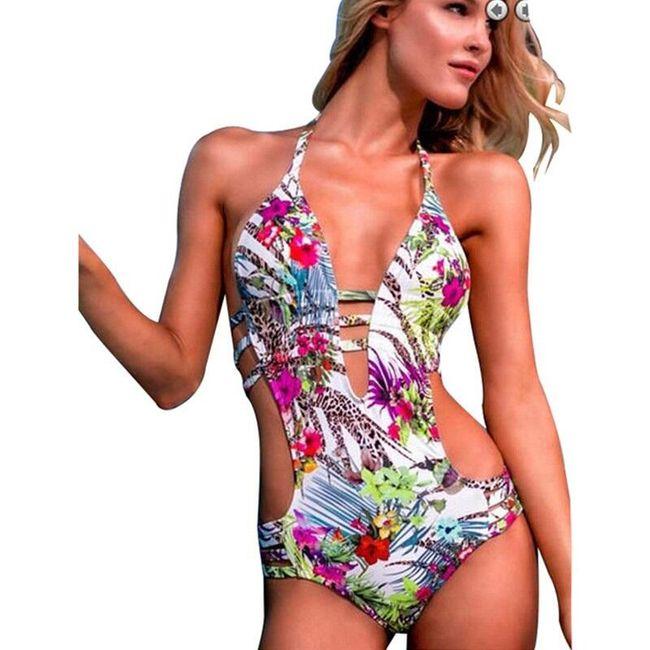 Jednodílné plavky s květinami a hlubokým výstřihem - 4 velikosti 1
