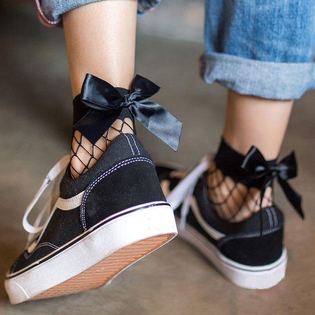 Síťované ponožky s mašlí 1