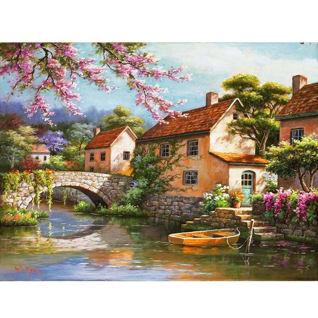 DIY obraz - vesnice s krajinou  1