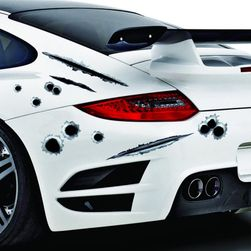 3D nálepka na auto 23 x 29 cm - Falešné kulky a škrábance