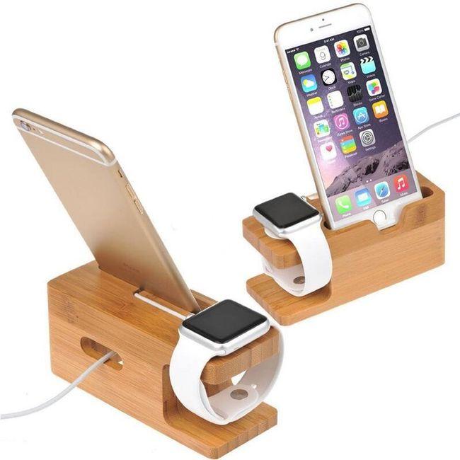 Dřevěný držák pro Apple hodinky a iPhone  1
