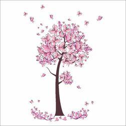 Samolepka na zeď - růžový strom z motýlků