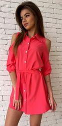 Košilové šaty s průřezy na ramenou - 3 barvy