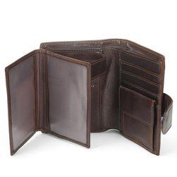 Tmavě hnědá peněženka z umělé kůže