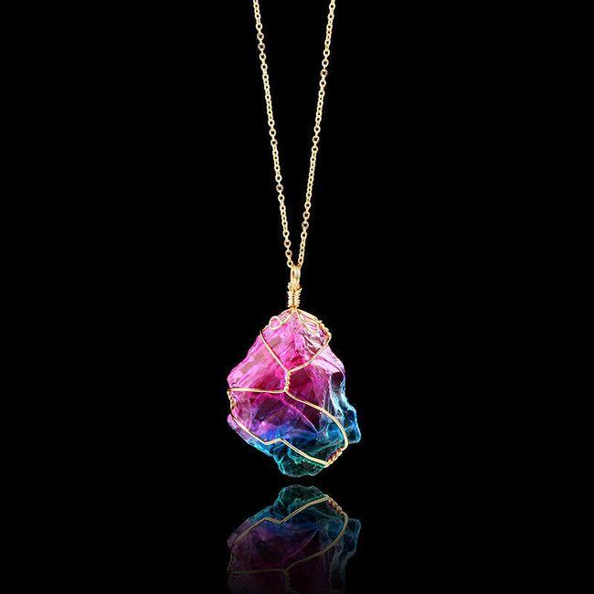 Náhrdelník s barevným kamínkem 1