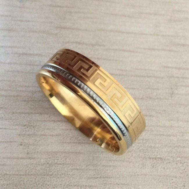 Pánský dvoubarevný prsten s ornamentem - různé velikosti 1