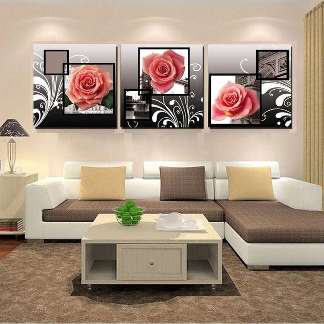 Růžové růže - 3-dílný obraz 1