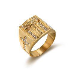 Prsten s křížkem pro pány - 2 barvy