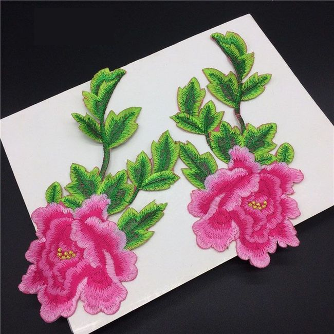 Výšivka ve tvaru květiny - 2 kusy 1