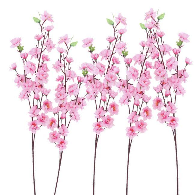 6 větviček s růžovými kvítky 1