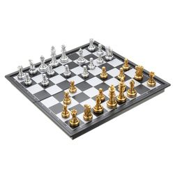 Magnetické šachy ve zlato-stříbrné barvě