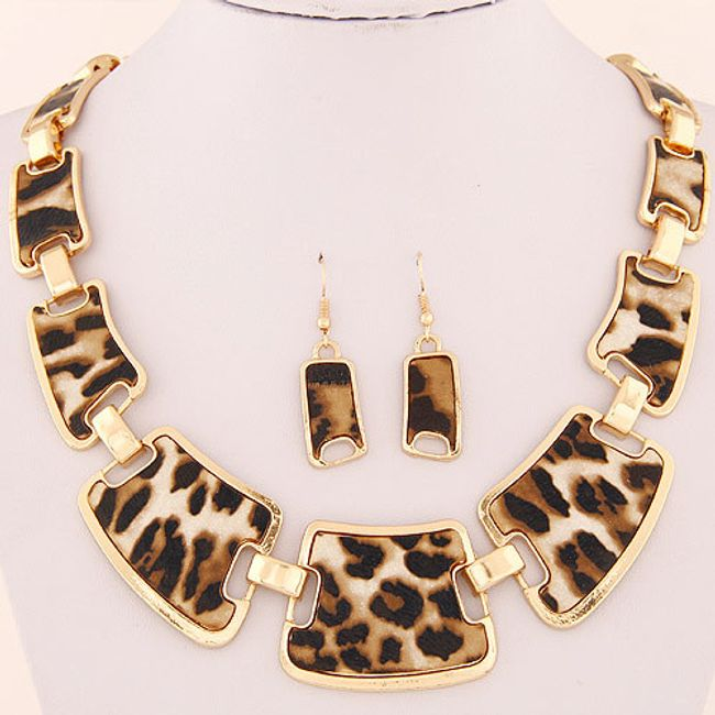 Náhrdelník a náušnice s leopardím vzorem 1