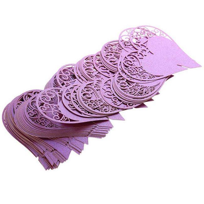 Papírová dekorace na skleničky - srdíčka 1