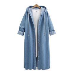 Dámský džínový kabát - Modrá-velikost č. 5