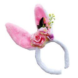 Dětská velikonoční čelenka do vlasů s oušky a květinami