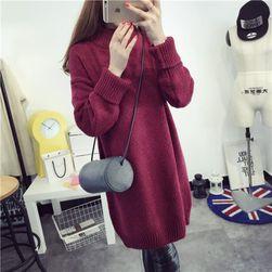 Dámské podzimní pletené šaty s límcem - 4 barvy