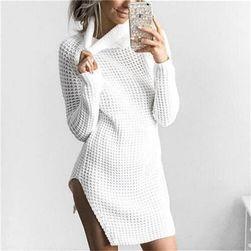 Pletené šaty s dlouhým rukávem - 4 barvy