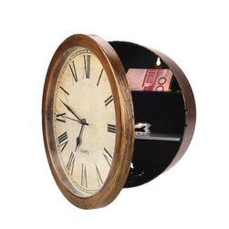Nástěnné hodiny v dřevěnném dekoru s trezorem na šperky