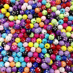 Barevné korálky s kamínky - 100 kusů