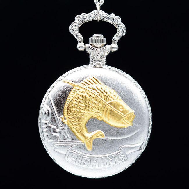 Vintage kapesní hodinky pro rybáře ve stříbrné barvě 1