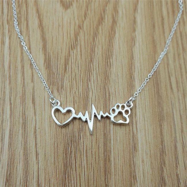 Dámský náhrdelník - srdce, puls a tlapka 1