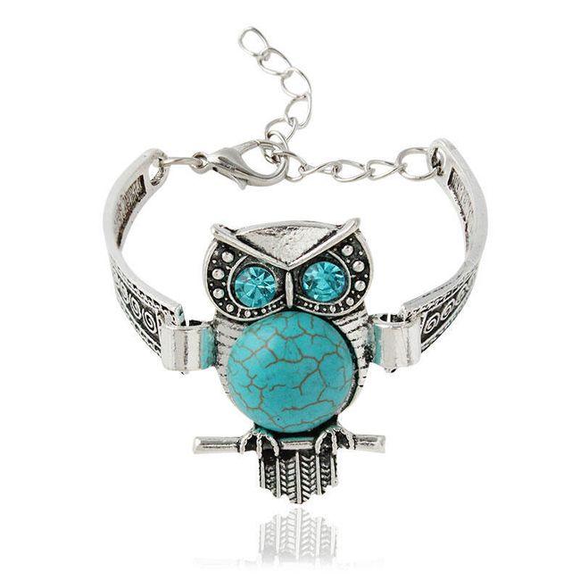 Náramek se sovou s modrými kamínky 1