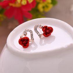 Náušnice ve tvaru srdce s růží - 3 varianty