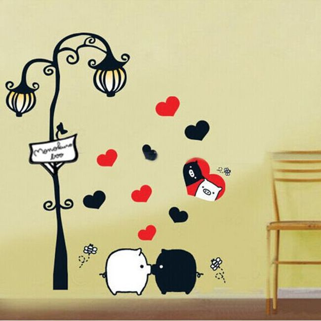 Samolepka na zeď s lampou, srdíčky a zamilovanými čuňíky 1