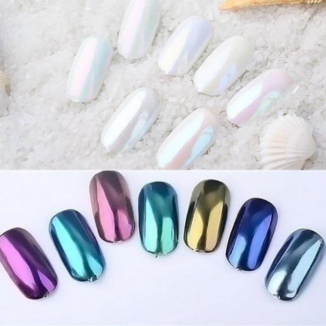 Chromový pigment na nehty - různé barvy 1