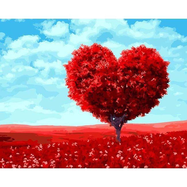 DIY obraz se stromem ve tvaru srdce 1