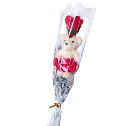 Mýdlová růže s medvídkem B01539